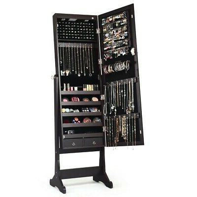 Lockable Mirrored Armoire Storage Stand Led