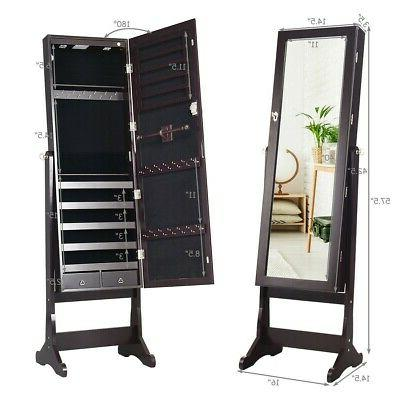 Lockable Jewelry Cabinet Armoire Organizer With Stand