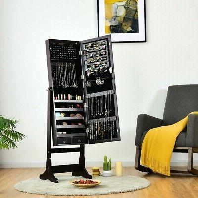 lockable mirrored jewelry cabinet armoire storage organizer