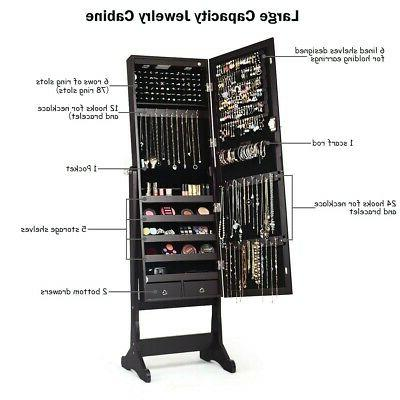 Lockable Mirrored Jewelry with Stand