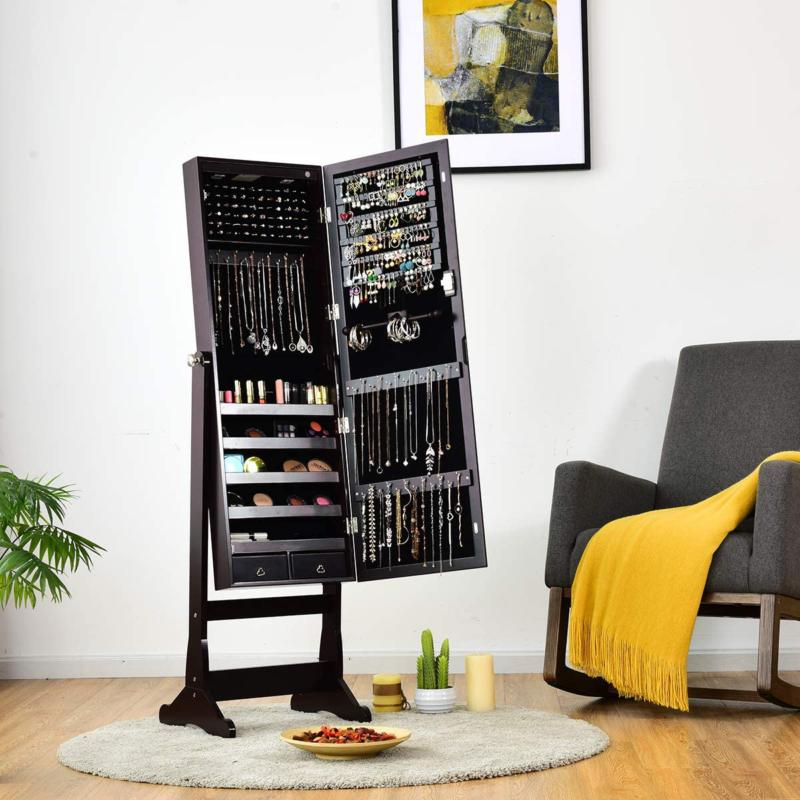 Lockable Standing Jewelry Cabinet with 2