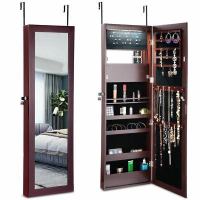 lockable wall door mounted mirror jewelry cabinet