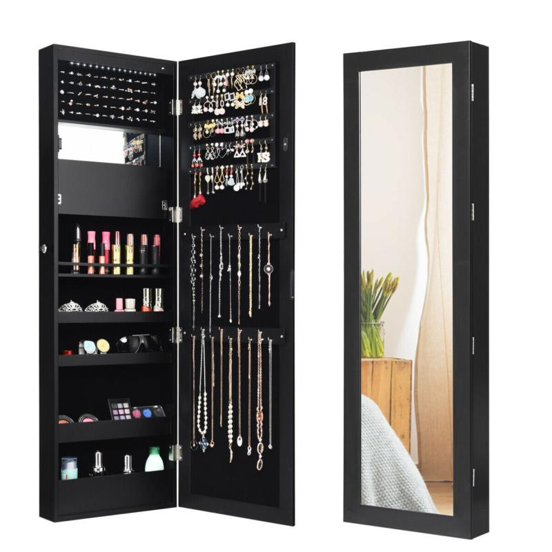 Lockable Wall Door Mirror Jewelry With Led