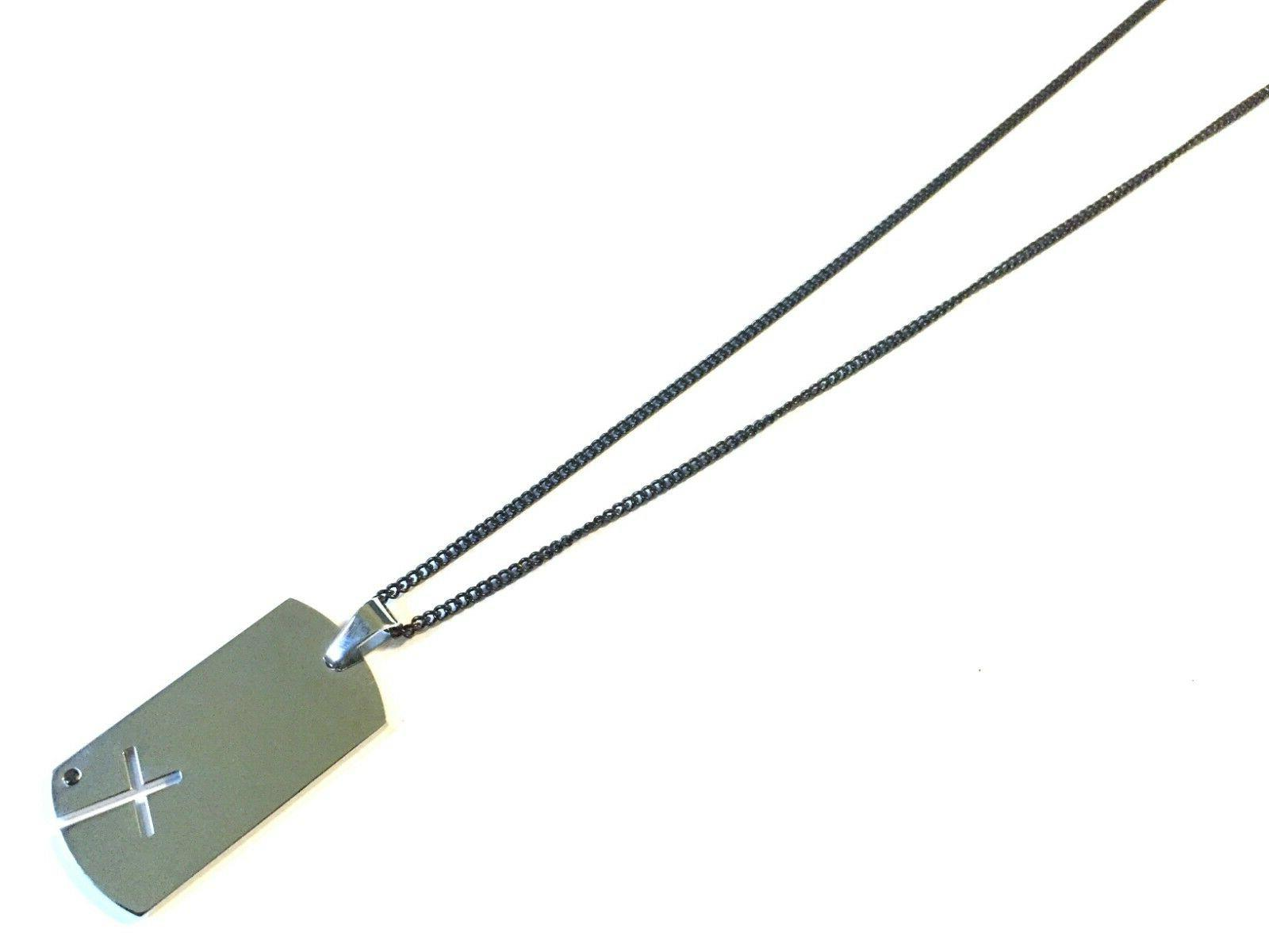 men s stainless steel black chain necklace
