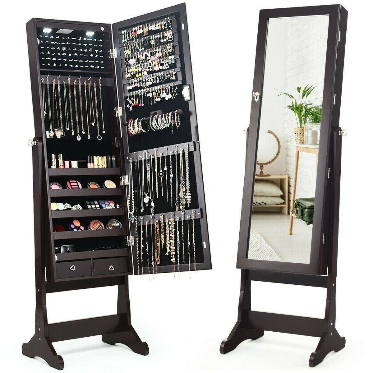 Mirror Jewelry Cabinet with Stand Lights