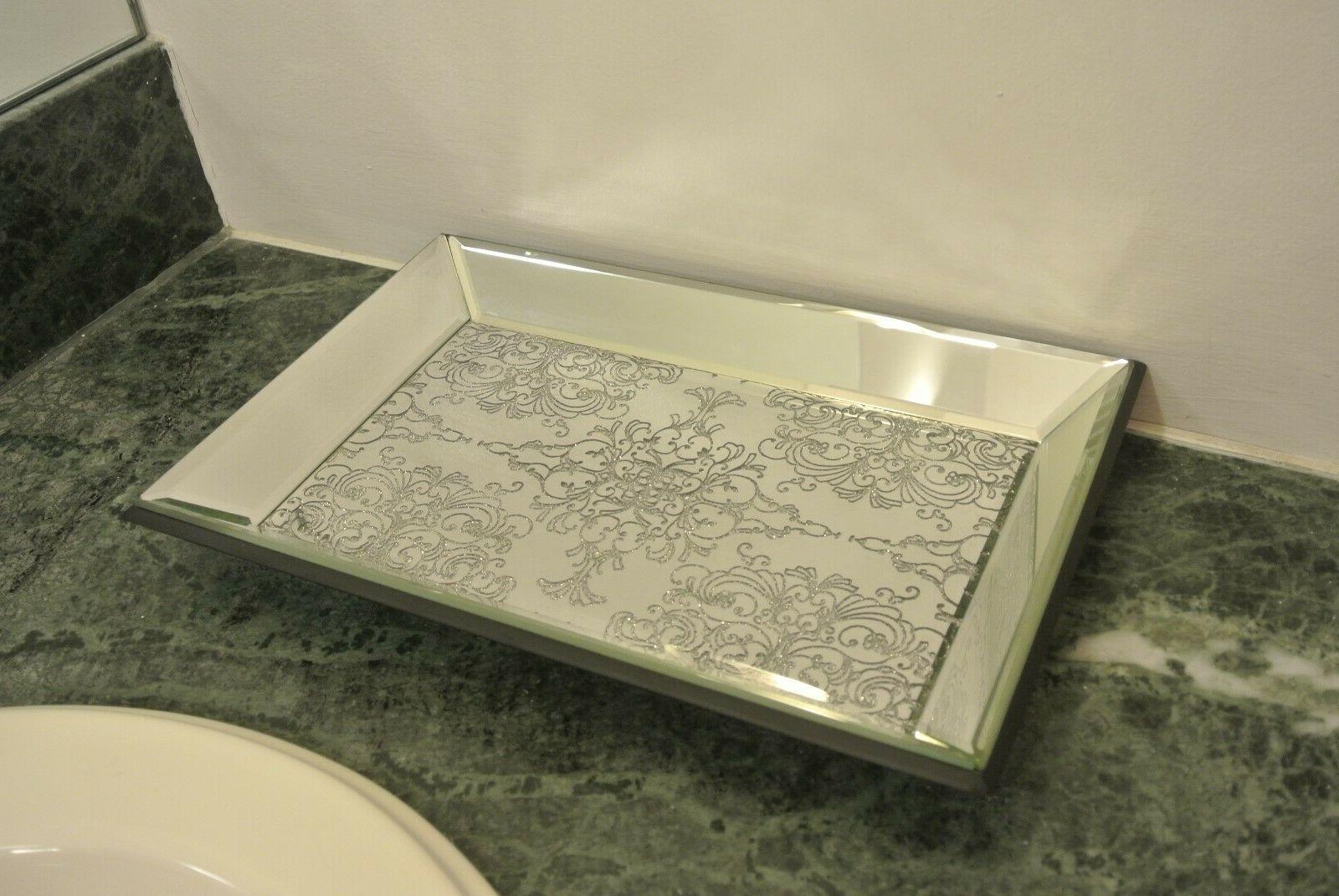 mirror vanity jewelry tray glitter brand new