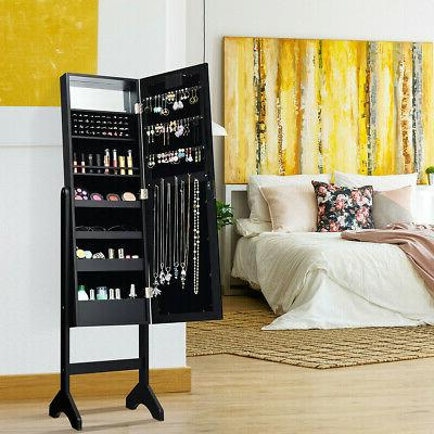 mirrored jewelry cabinet armoire organizer with 18