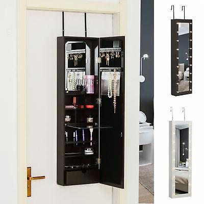 mirrored jewelry cabinet armoire storage organizer w