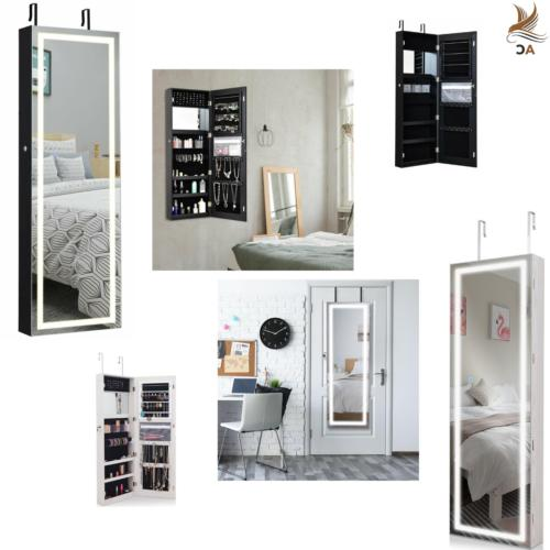 mirrored jewelry cabinet door wall mount touch