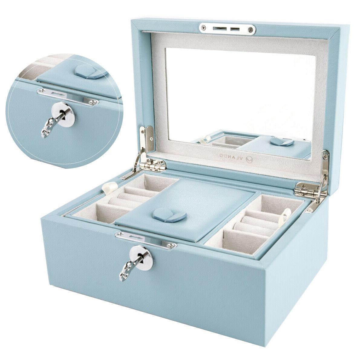 mirrored lockable wooden jewelry box organizer