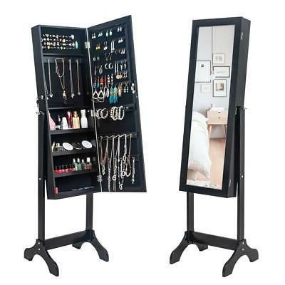 Durable Mirrored Jewelry Cabinet Armoire Mirror Holder Stora