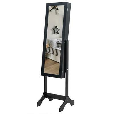 Practical Lockable Mirror Jewelry Cabinet Armoire Organizer Standing
