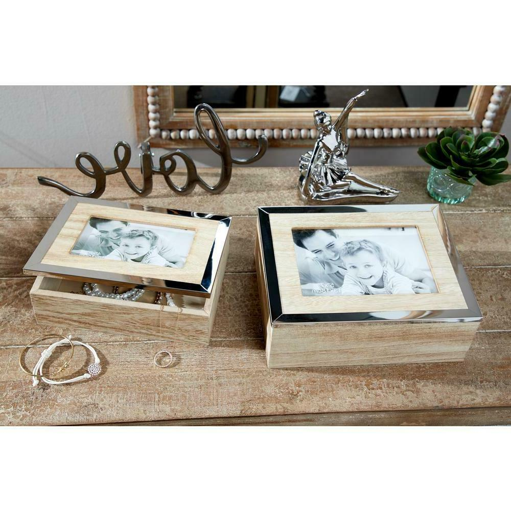 rectangular natural wood jewelry boxes with mirrors