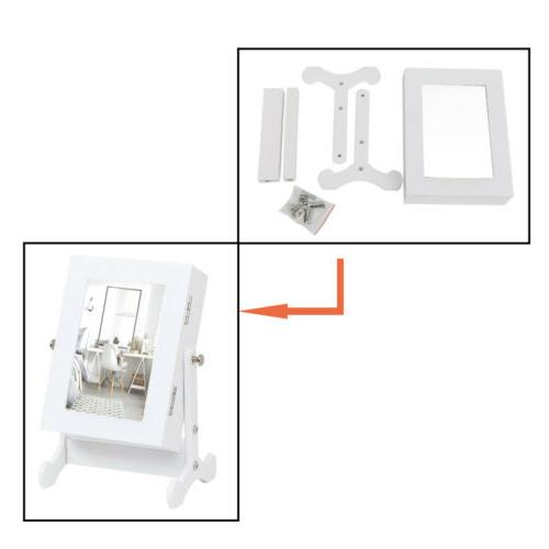 Small Mirror Jewelry Organizer Box with