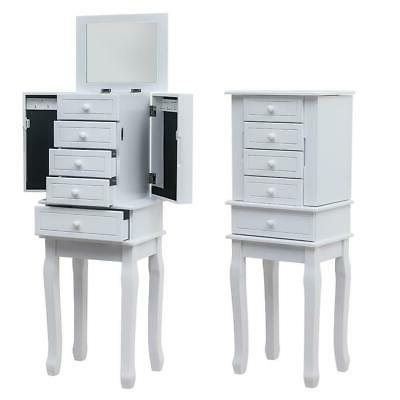 standing jewelry armoire with mirror 5 drawers