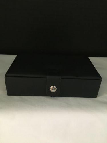 travel black faux leather jewelry organizer