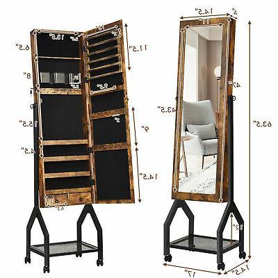 Vintage Armoire Mirrored Organizer With Shelf