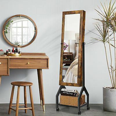 Vintage Armoire Mirrored Lockable Organizer Shelf &