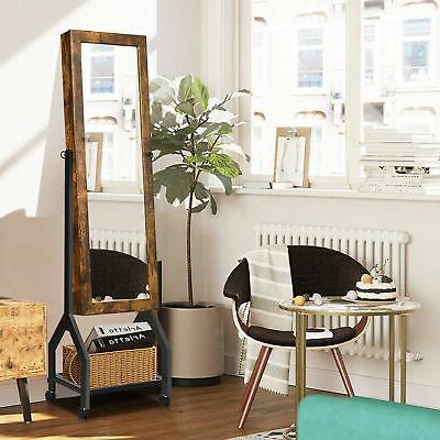 Vintage Armoire Mirrored Shelf & Wheels