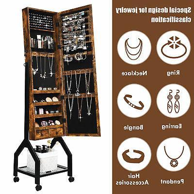 Vintage Jewelry Mirrored Organizer With Shelf & Wheels