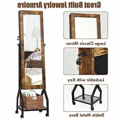 Vintage Armoire Cabinet Mirrored Organizer Shelf