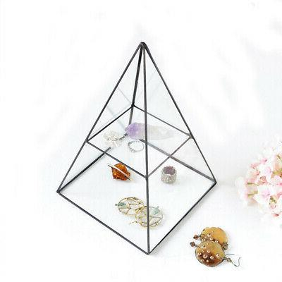 vintage style brass clear glass pyramid mirrored