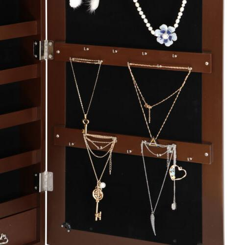 Brown Jewelry Box Lockable Mounted w/ Drawers