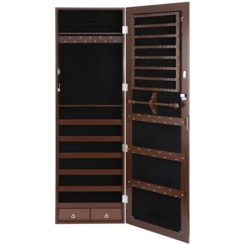 brown jewelry box cabinet lockable armoire wall