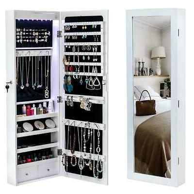 Wall & Door Mounted Mirror Jewelry Cabinet w/ Lock Armoire O