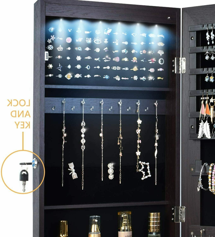 Wall/Door Jewelry Armoire w/LED Light