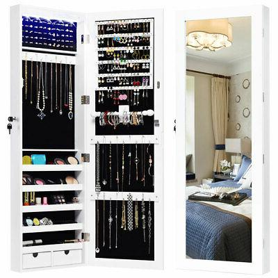 wall mounted mirrored jewelry cabinet armoire organizer