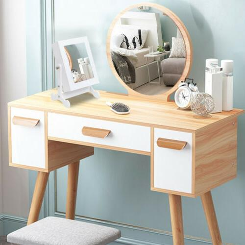 Small Mirror Jewelry Cabinet Organizer Armoire Storage Box C