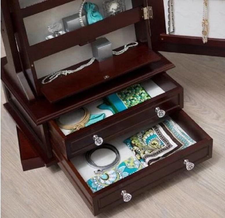 Wooden Jewelry Armoire Floor Mirror Drawers