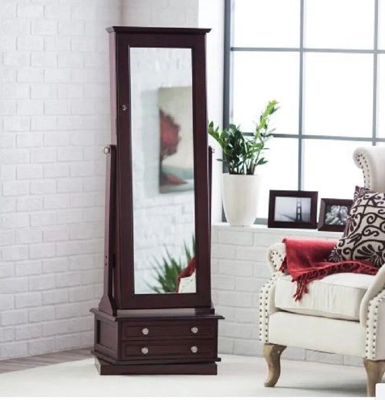 Wooden Jewelry Armoire Swivel Cheval Floor Mirror With Drawers