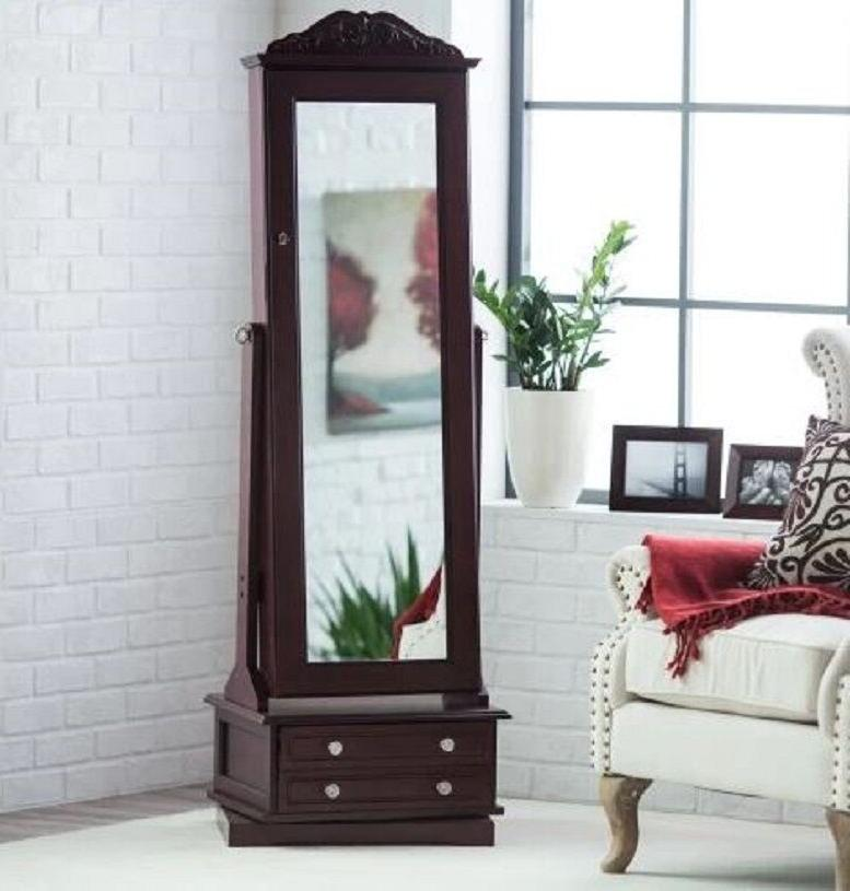 Wooden Jewelry Armoire Swivel Floor With Drawers