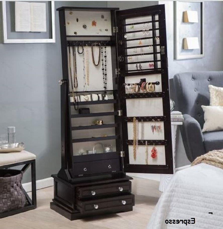 Wooden Jewelry Swivel Floor Mirror Drawers