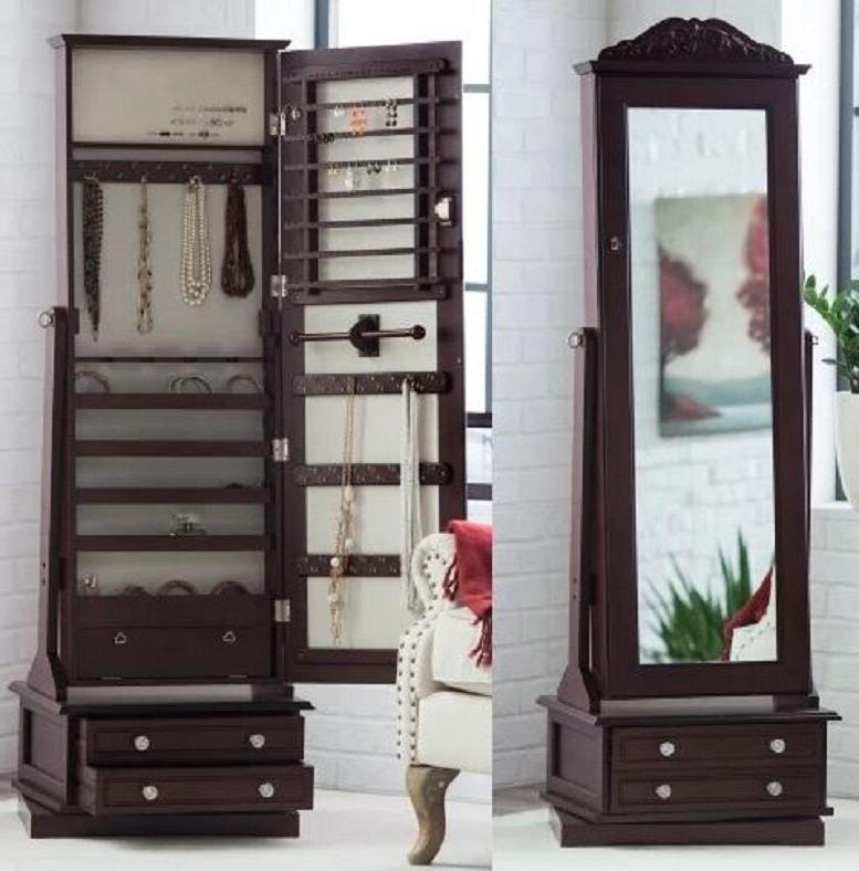 wooden jewelry armoire in swivel cheval full
