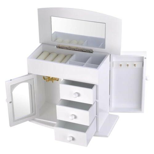 Wooden Built-in Mirror Earring Storage Case White