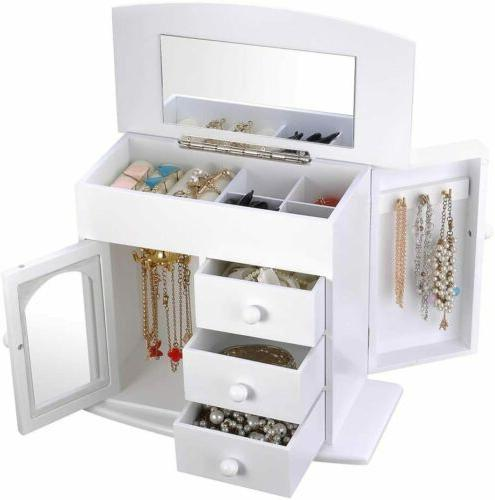 Wooden Jewelry Built-in Mirror Earring Organizer Storage White