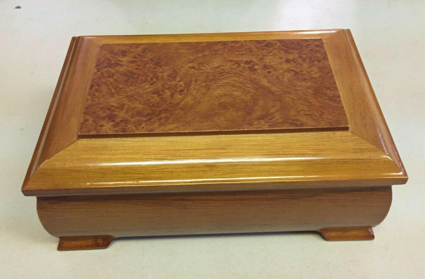 wooden jewelry box mirror music movement ring