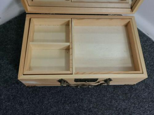 Wooden Jewelry Box Lock and Mirror, 4""
