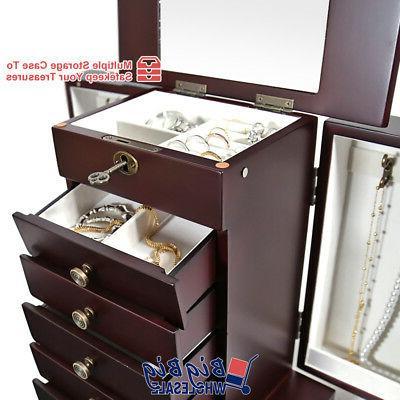 Wooden Treasure Amoire Cabinet Storage Organizer Drawer
