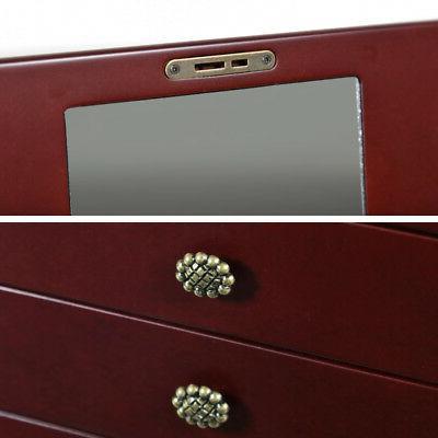 Red Wooden Jewelry Storage Box