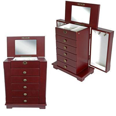 Red Wooden Storage Organizer Side Cabinet 5
