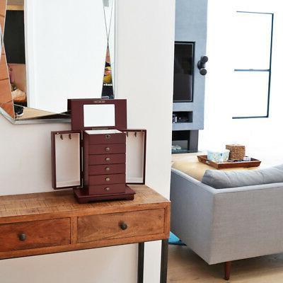 Red Jewelry Storage Cabinet Drawer+Mirror