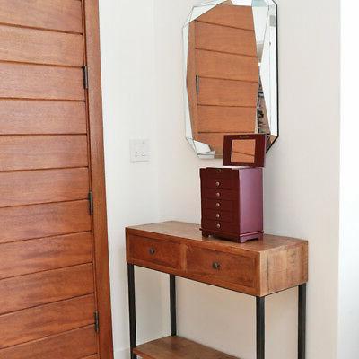 Red Wooden Jewelry Armoire Storage Organizer Cabinet Drawer+Mirror