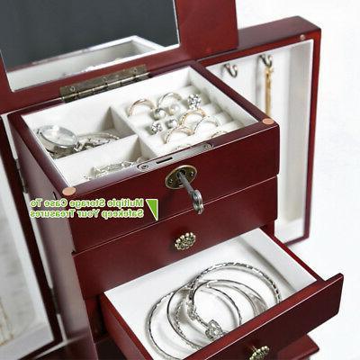 Red Wooden Jewelry Storage Box Organizer Cabinet Drawer+Mirror