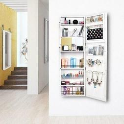 Lackable Door/Wall Mount Mirrored Jewelry Armoire Cabinet Or