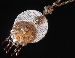 Lady Vanity Mirror Mixed Media Necklace 24 Karat Gold Plate