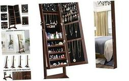 LANGRIA Jewelry Armoire Cabinet Full-Length Frameless Mirror